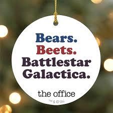 Image Hallmark Ornament Nbc Store The Office Bears Beets Battlestar Galactica Ornament