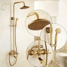 shower faucets antique brass wall moutned bathroom faucets set 8 rain shower head round handheld bra bathtub mixer ta