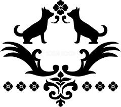 白黒の犬イラスト無料横姿シルエットおしゃれ和風飾り82817 素材good