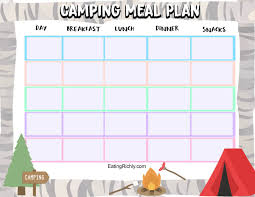 Camping Menu Template Best Camping Food For Kids And Printable Camping Meal Plan