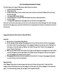 Mla Formatting Instructions Mla Formatting Instructions For Microsoft Word 2007 By Resources