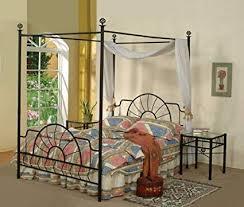 Amazon.com: Black Metal Sunburst Canopy Bed Full Size (Bed) Frame ...