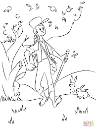 Small Picture Johnny Appleseed with Animals coloring page Free Printable
