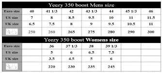 Adidas Yeezy Boost 350 Size Chart