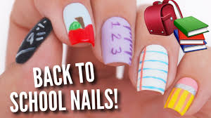 5 Nail Designs 5 Back To School Nail Art Designs School Nails Back To