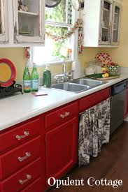 White And Red Kitchen Opulent Cottage Our New Red Kitchen Cabinets