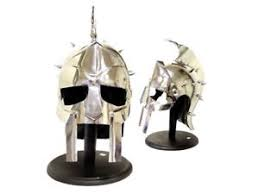 Wooden Display Stands For Figurines Full Sized Wearable Roman Warrior Arena Helmet Mask w Wooden 81