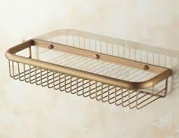 45cm antique brass bathroom wall mounted basket shower caddy wire storage eba083
