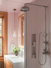 lighting for shower. example of a trendy bathroom design in new york with an integrated sink lighting for shower