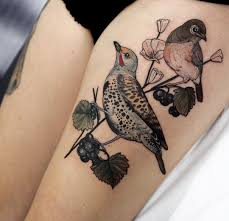 Realism Tattoo With Bird And Berry
