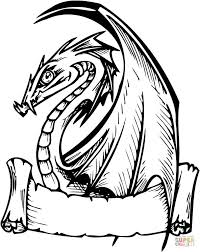 Small Picture Dragon with Banner for Words coloring page Free Printable