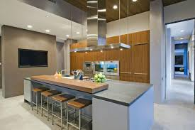 modern kitchen island. Modern Kitchen With Grey Tiles And Island Steel Appliances