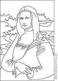Enchanted Learning Da Vinci Mona Lisa Coloring Page Leonardo Da