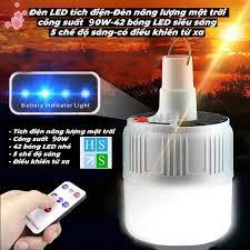 Đèn LED tích điện không dây - Đèn năng lượng mặt trời công suất 90W có  remote điều khiển từ xa 5 chế độ sáng - Bóng đèn Nhãn hàng No brand