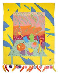 "Joan Ward Summers - ""Breakfast in Merida (Homage to Carmen Miranda),"" Wool  Tapestry by Joan Summers For Sale at 1stDibs"