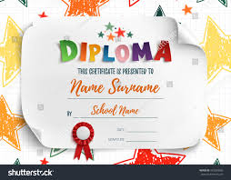 diploma template kids certificate background hand stock vector  diploma template for kids certificate background hand drawn colorful stars for school preschool