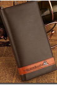 zumeet men mock leather long section checkbook wallet brown