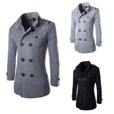 details about mens winter warm jacket trench long wool coats dress coat outwear overcoat