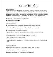 Music Manager Job Description 14 Restaurant Manager Job Description Templates Word