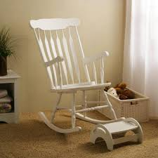 white wooden rocking chair. white rocking chair with stool wooden r