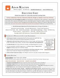 Award Nominated Executive Chef Sample Resume Executive Resume Writer