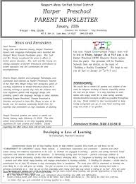 School Newsletter Template For Word Classroom Newsletter Template Word Preschool Danielmelo Info