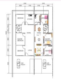 floor plan residen 80 semi detached terrace houses low cost