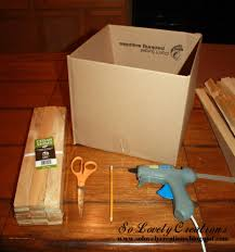 Super easy idea to turn a simple cardboard box into a beautiful wooden box!  Materials