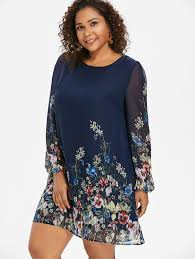 Wipalo Navy Blue <b>Plus Size</b> Floral Embroidery Tunic Dress <b>Spring</b> ...