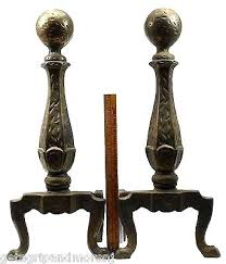 sold art set of antique dog andirons matching fireplace tools brass screen remarkable chrome