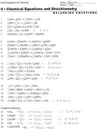 free balancing equations chemistry problems answers practice worksheet worksheets