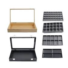 glass top jewelry box display case and liner tray set assorted styles