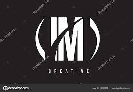 イム私は M 黒の背景と文字ロゴ デザインをホワイト ストックベクター