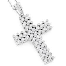 14k gold unique mens diamond cross pendant 7 15ct white image
