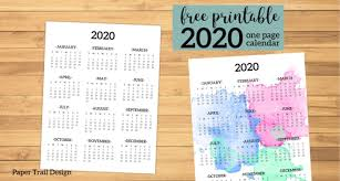 2020 Year At A Glance Calendar Template Calendar 2020 Printable One Page Paper Trail Design