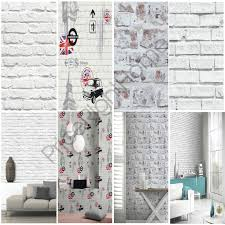 Small Picture WHITE BRICK EFFECT WALLPAPER 5 STYLES FEATURE WALL NEW