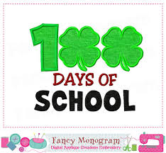 100 Days Of School Applique Design 100 Days Of School Back To School Four Leaf Clover Design