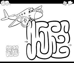 Doolhof Met Vliegtuig Kleurplaat Vector Premium Download