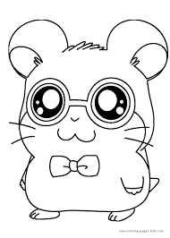 hamtaro color page cartoon characters coloring pages