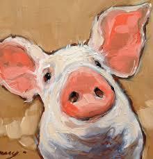 pig portrait painting oil on panel impressionistic pig portrait paintings of pigs pig art