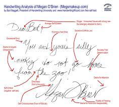 writing analysis megs makeup celebrity handwriting analysis handwriting university