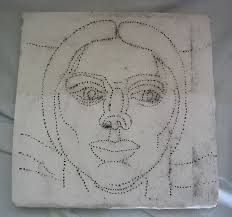 cartoon transferred to plaster by dotting