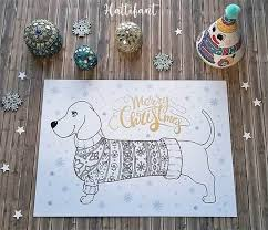 Dachshund Merry Christmas Coloring Page
