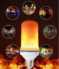 Hml E27 90 240v 6w Led 3d Flame Light Bulb Emulation Flaming 2 Mode Decorative Lamp