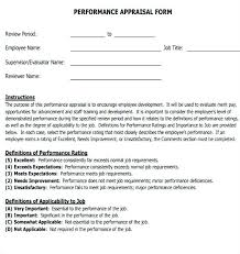 Performance Review Forms Free Employee Evaluation Forms Printable New Sample Job Performance