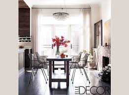 dark wood floors rustic wood table wire chairs lovely chandelier keri russell s home via elle decor