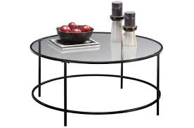 sauder soft modern round clear glass coffee table