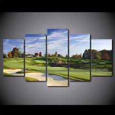 5 pieces hd printed canvas art green grass golf sports field painting decor pictures wall art for living room wall poster on golf wall art canada with golf art prints canada best selling golf art prints from top