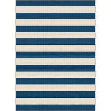gct1006 8x10 8 x 10 large navy blue stripe indoor outdoor rug garden city
