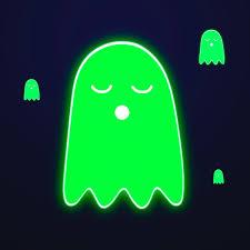 Neon green Halloween ghost sticker ...